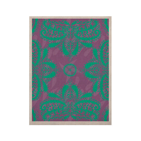 "Nandita Singh ""Motifs in Green"" Purple Floral KESS Naturals Canvas (Frame not Included) - KESS InHouse  - 1"