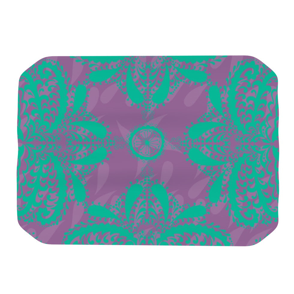 "Nandita Singh ""Motifs in Green"" Purple Floral Place Mat - KESS InHouse"