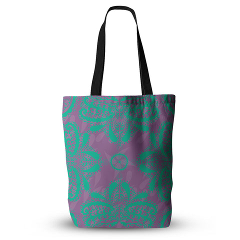 "Nandita Singh ""Motifs in Green"" Purple Floral Everything Tote Bag - KESS InHouse  - 1"