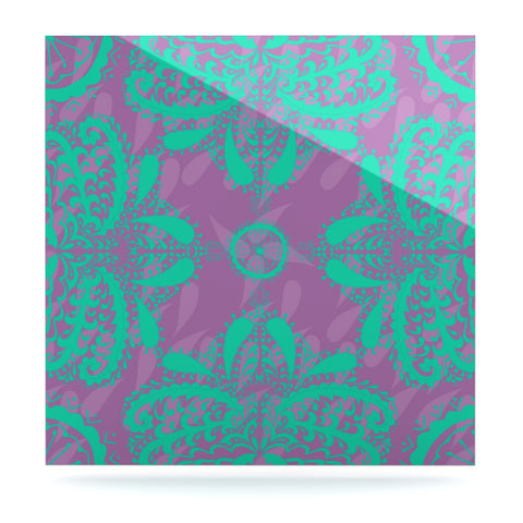 "Nandita Singh ""Motifs in Green"" Purple Floral Luxe Square Panel - KESS InHouse  - 1"