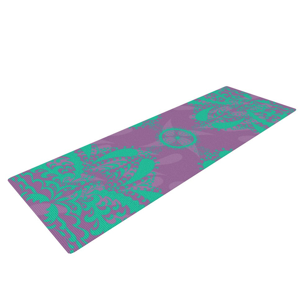 "Nandita Singh ""Motifs in Green"" Purple Floral Yoga Mat - KESS InHouse  - 1"
