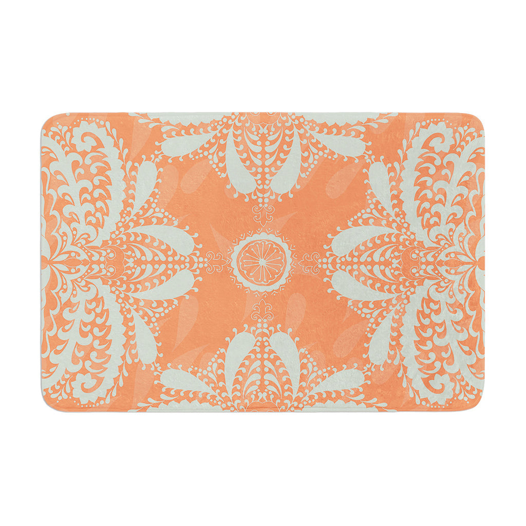 "Nandita Singh ""Motifs in Peach"" Orange Floral Memory Foam Bath Mat - KESS InHouse"