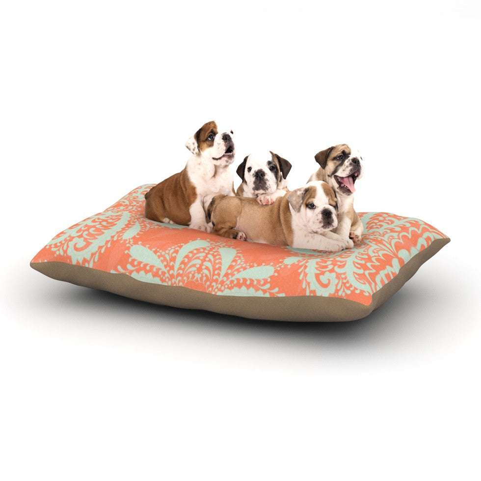 "Nandita Singh ""Motifs in Peach"" Orange Floral Dog Bed - KESS InHouse  - 1"