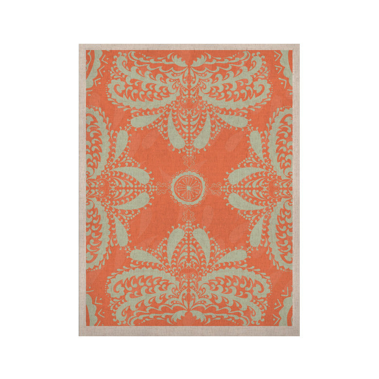"Nandita Singh ""Motifs in Peach"" Orange Floral KESS Naturals Canvas (Frame not Included) - KESS InHouse  - 1"