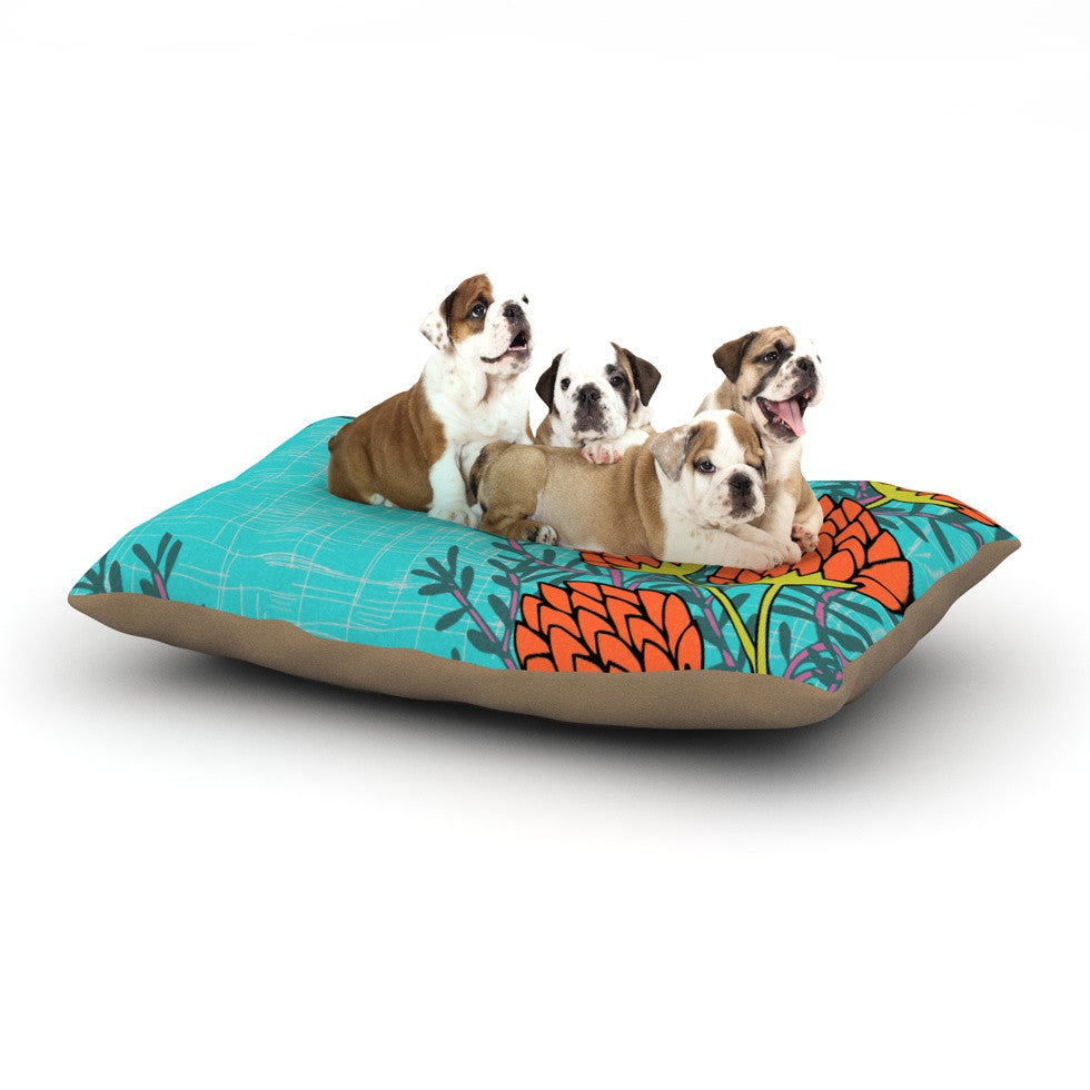 "Nandita Singh ""Red Flowers"" Blue Orange Dog Bed - KESS InHouse  - 1"