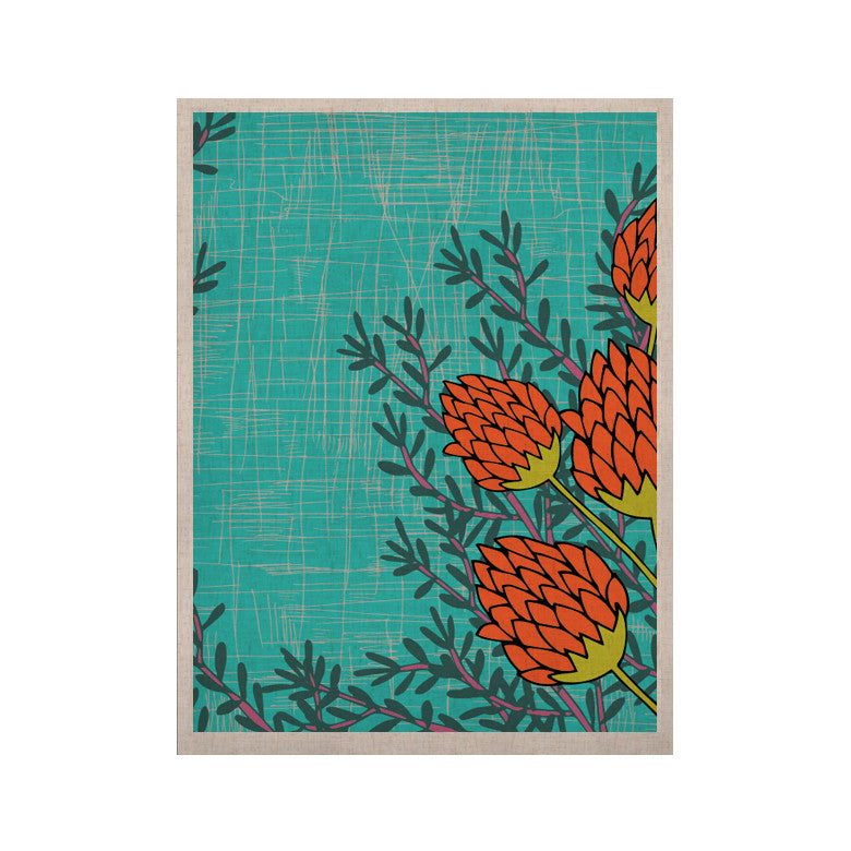 "Nandita Singh ""Red Flowers"" Blue Orange KESS Naturals Canvas (Frame not Included) - KESS InHouse  - 1"