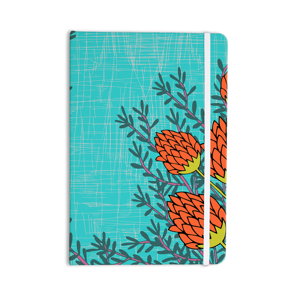 "Nandita Singh ""Red Flowers"" Blue Orange Everything Notebook - KESS InHouse  - 1"