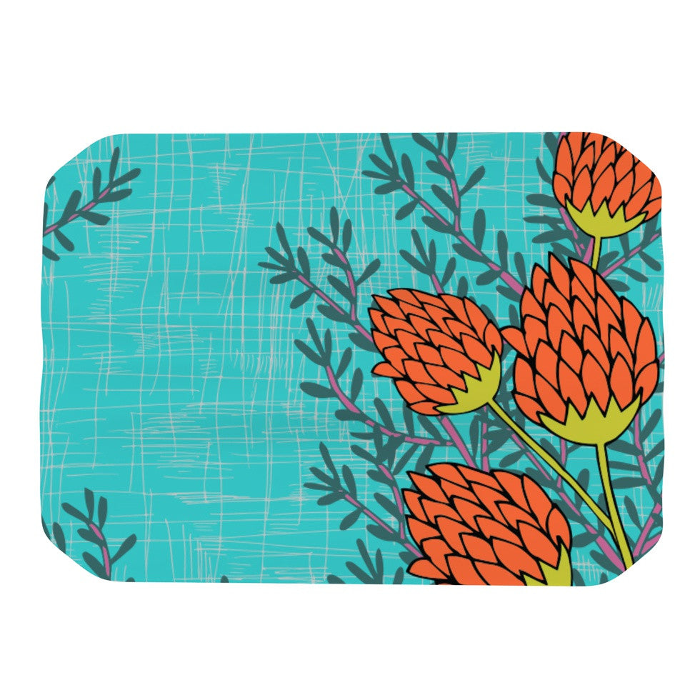 "Nandita Singh ""Red Flowers"" Blue Orange Place Mat - KESS InHouse"