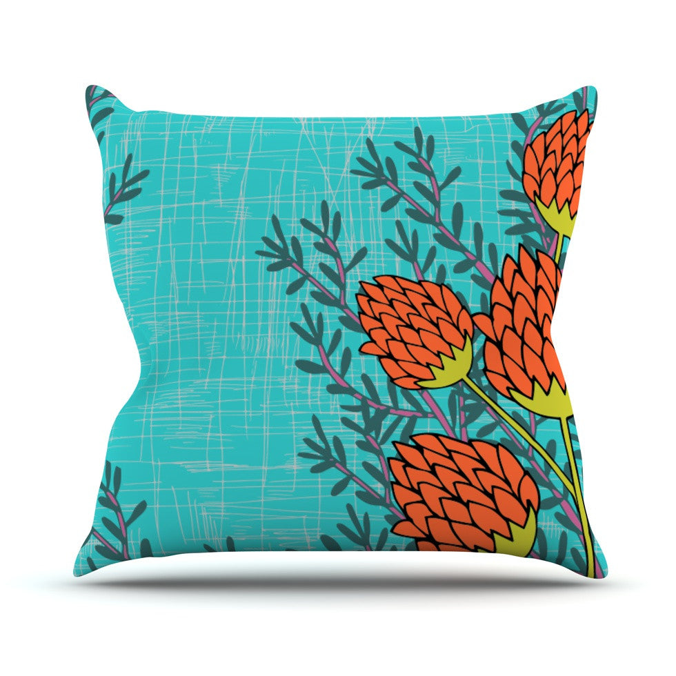 "Nandita Singh ""Red Flowers"" Blue Orange Throw Pillow - KESS InHouse  - 1"