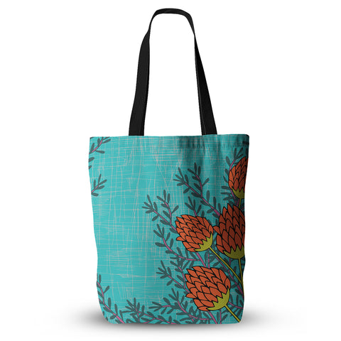 "Nandita Singh ""Red Flowers"" Blue Orange Everything Tote Bag - KESS InHouse  - 1"