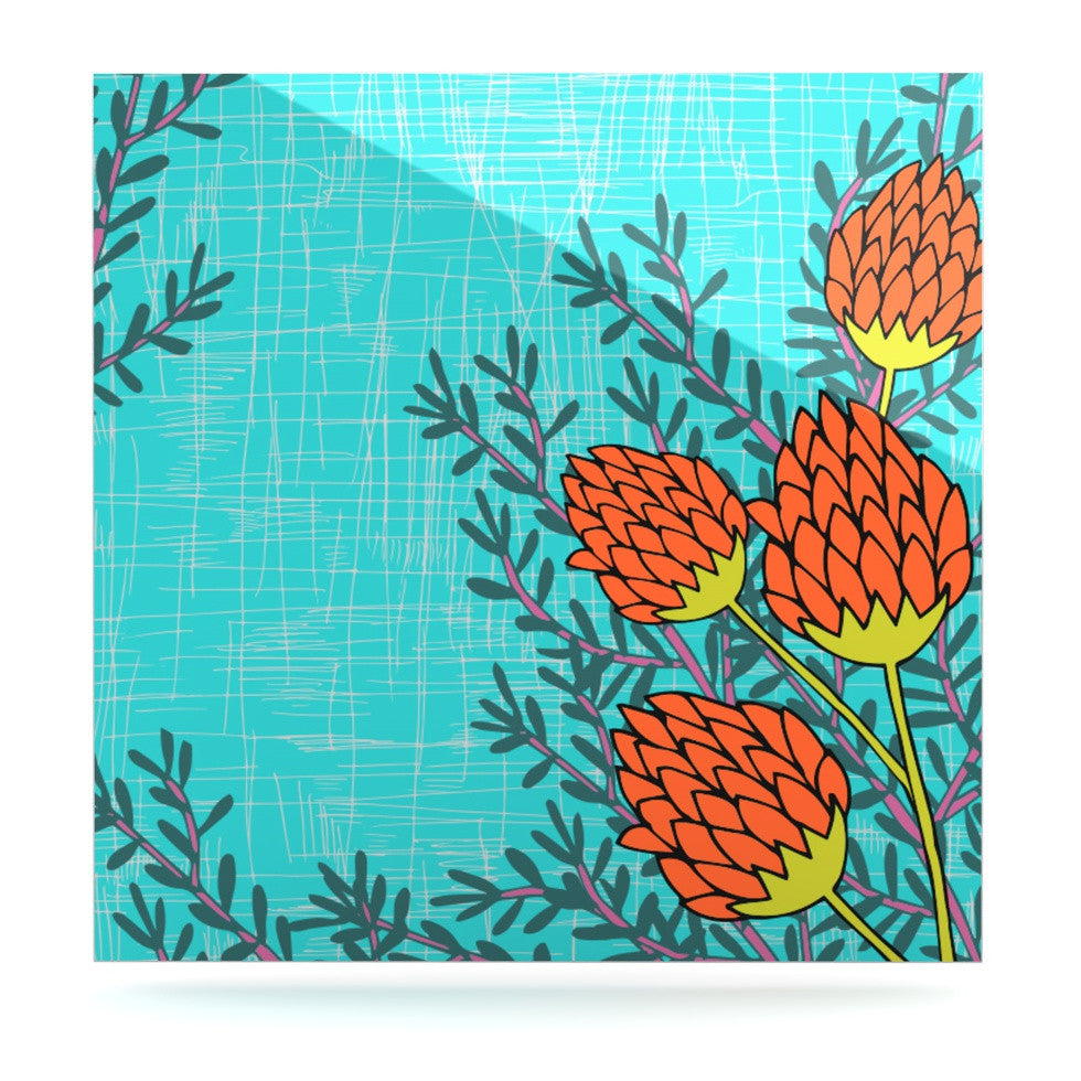 "Nandita Singh ""Red Flowers"" Blue Orange Luxe Square Panel - KESS InHouse  - 1"
