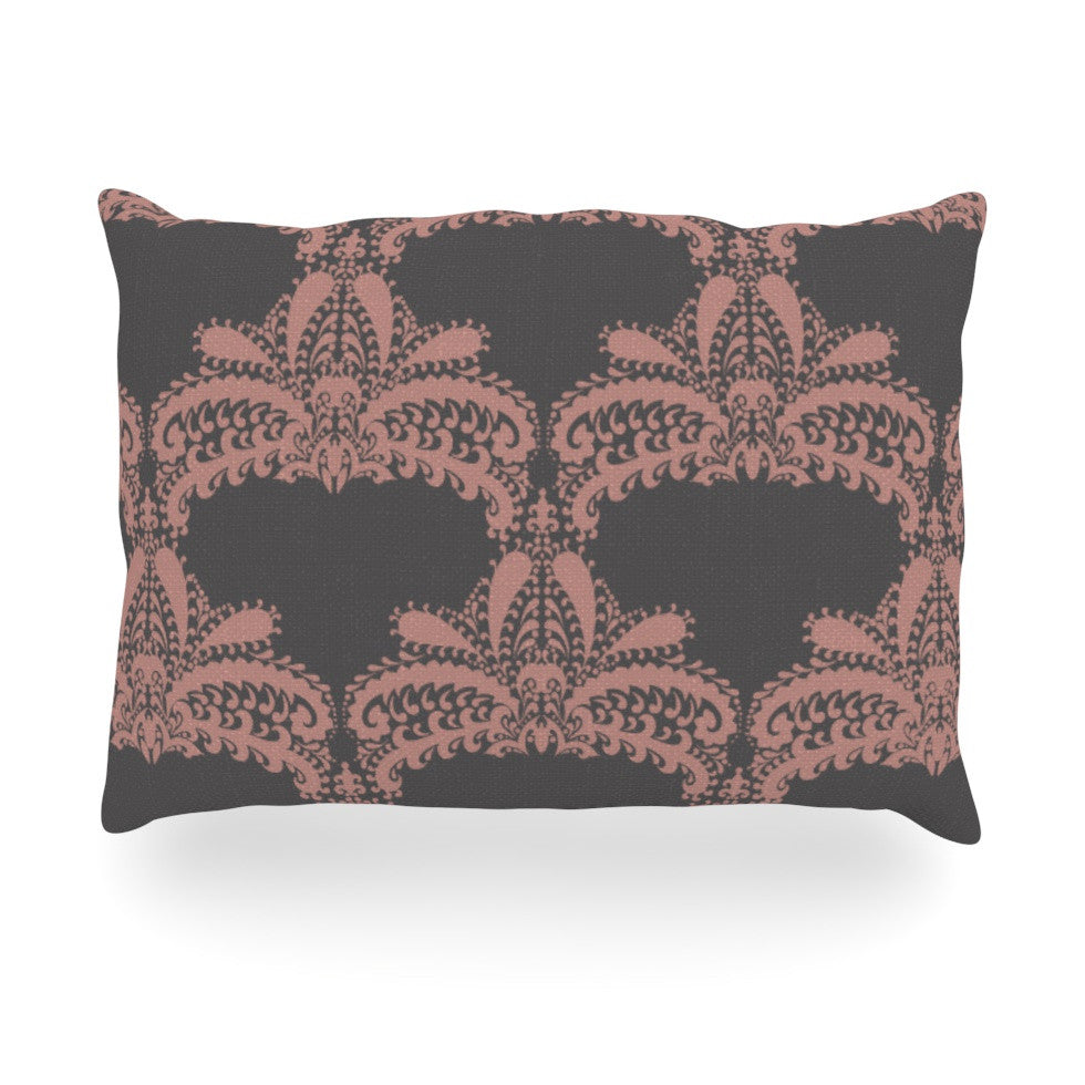 "Nandita Singh ""Decorative Motif Pink"" Bronze Floral Oblong Pillow - KESS InHouse"
