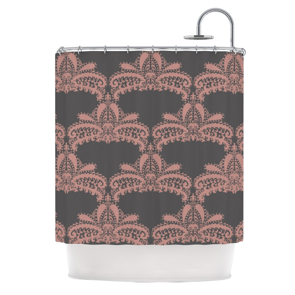 "Nandita Singh ""Decorative Motif Pink"" Bronze Floral Shower Curtain - KESS InHouse"