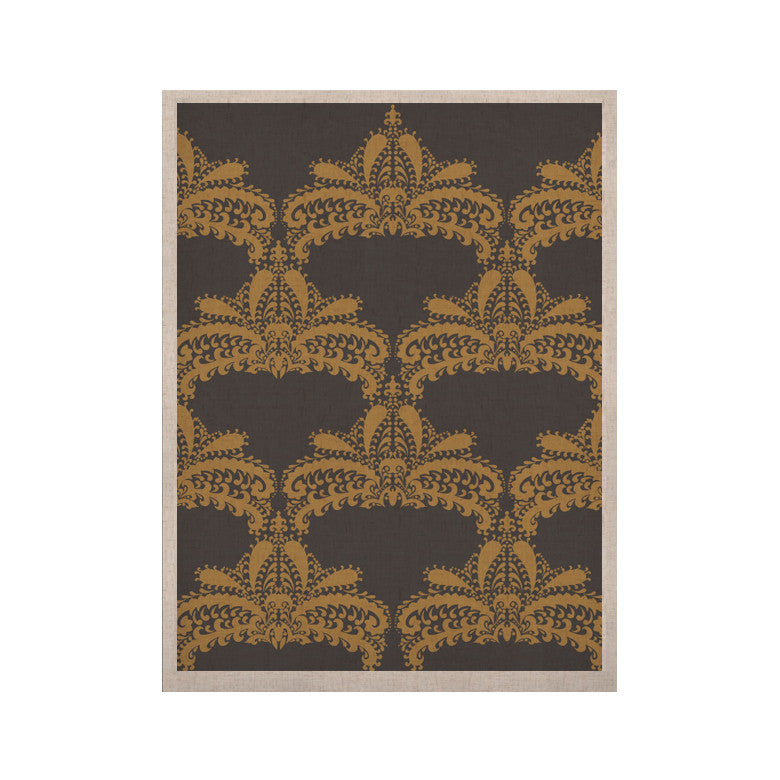 "Nandita Singh ""Decorative Motif Gold"" Copper Floral KESS Naturals Canvas (Frame not Included) - KESS InHouse  - 1"