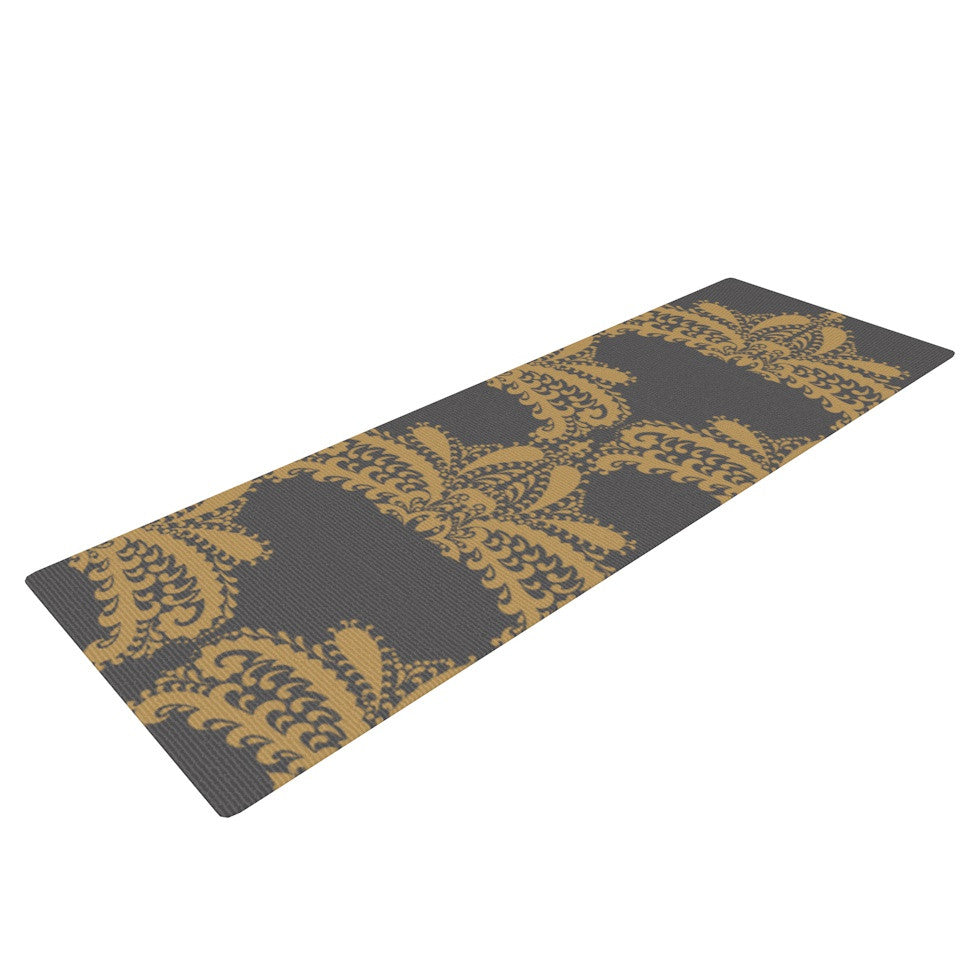 "Nandita Singh ""Decorative Motif Gold"" Copper Floral Yoga Mat - KESS InHouse  - 1"