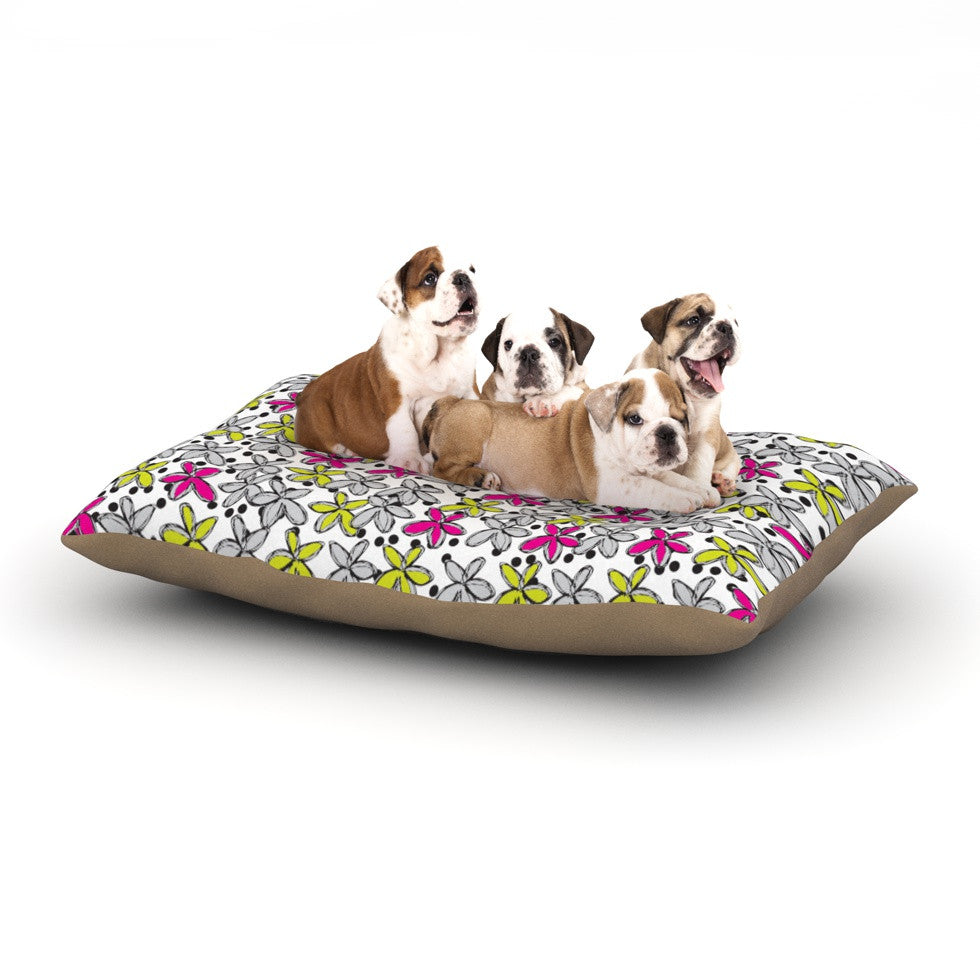 "Nandita Singh ""Floral Spread"" Pink Yellow Dog Bed - KESS InHouse  - 1"