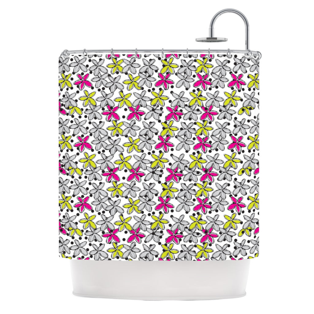"Nandita Singh ""Floral Spread"" Pink Yellow Shower Curtain - KESS InHouse"