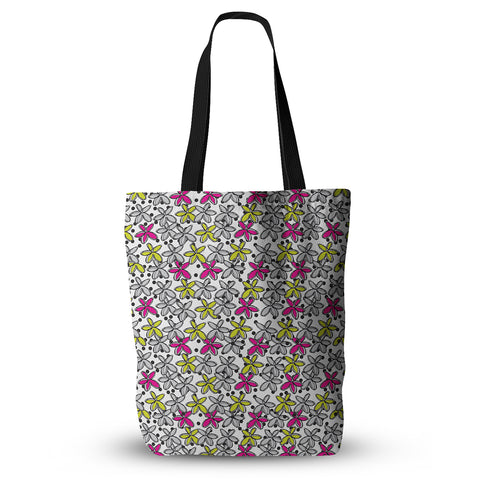 "Nandita Singh ""Floral Spread"" Pink Yellow Everything Tote Bag - KESS InHouse  - 1"