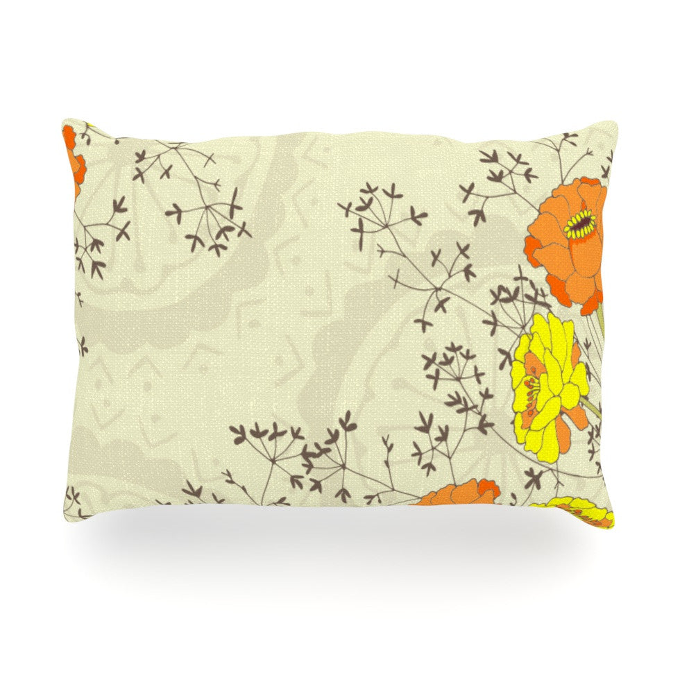 "Nandita Singh ""Flowers and Twigs"" Tan Orange Oblong Pillow - KESS InHouse"