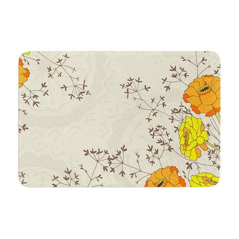 "Nandita Singh ""Flowers and Twigs"" Tan Orange Memory Foam Bath Mat - KESS InHouse"
