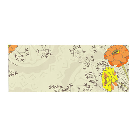 "Nandita Singh ""Flowers and Twigs"" Tan Orange Bed Runner - KESS InHouse"