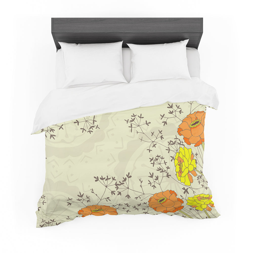 "Nandita Singh ""Flowers and Twigs"" Tan Orange Cotton Duvet"