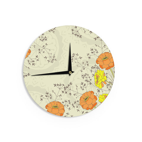 "Nandita Singh ""Flowers and Twigs"" Tan Orange Wall Clock - KESS InHouse"