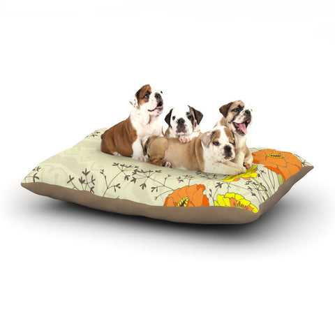 "Nandita Singh ""Flowers and Twigs"" Tan Orange Dog Bed - KESS InHouse  - 1"