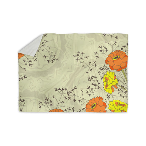 "Nandita Singh ""Flowers and Twigs"" Tan Orange Sherpa Blanket - KESS InHouse  - 1"