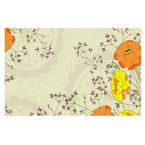 "Nandita Singh ""Flowers and Twigs"" Tan Orange Decorative Door Mat - KESS InHouse"
