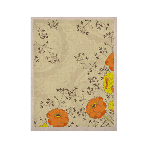 "Nandita Singh ""Flowers and Twigs"" Tan Orange KESS Naturals Canvas (Frame not Included) - KESS InHouse  - 1"