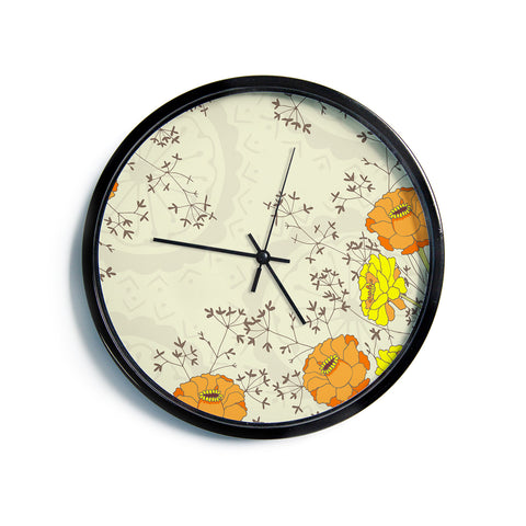 "Nandita Singh ""Flowers and Twigs"" Tan Orange Modern Wall Clock"