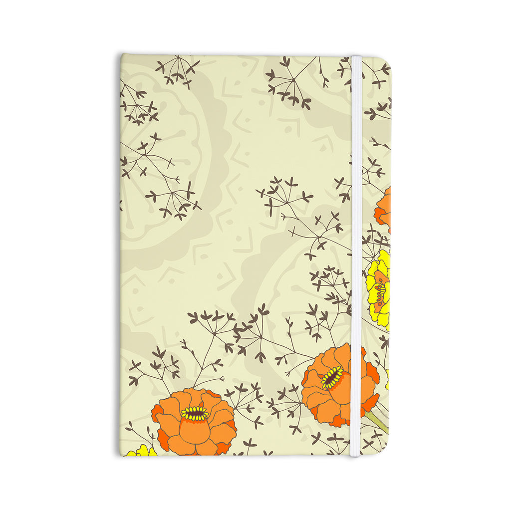 "Nandita Singh ""Flowers and Twigs"" Tan Orange Everything Notebook - KESS InHouse  - 1"