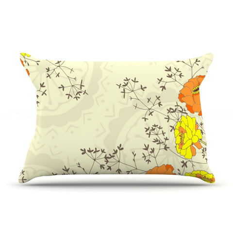 "Nandita Singh ""Flowers and Twigs"" Tan Orange Pillow Sham - KESS InHouse"