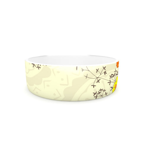 "Nandita Singh ""Flowers and Twigs"" Tan Orange Pet Bowl - KESS InHouse"