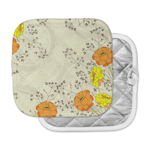 "Nandita Singh ""Flowers and Twigs"" Tan Orange Pot Holder"