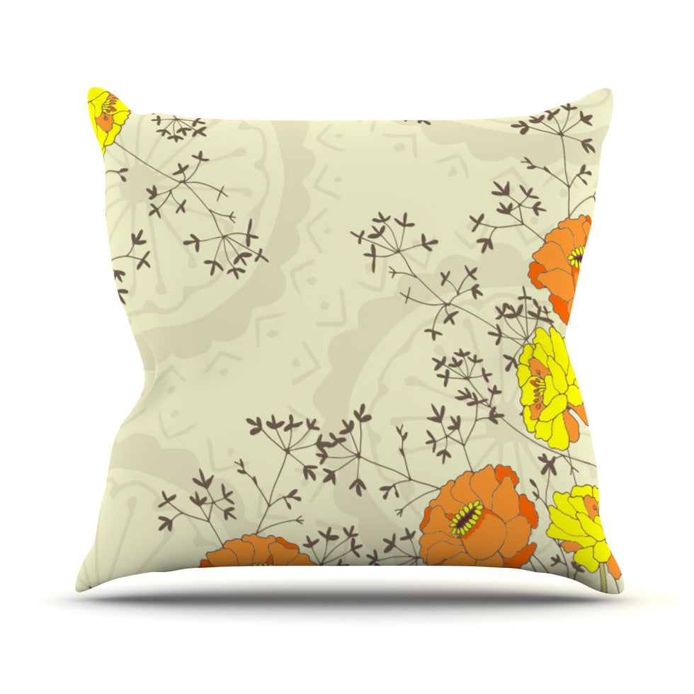 "Nandita Singh ""Flowers and Twigs"" Tan Orange Throw Pillow - KESS InHouse  - 1"
