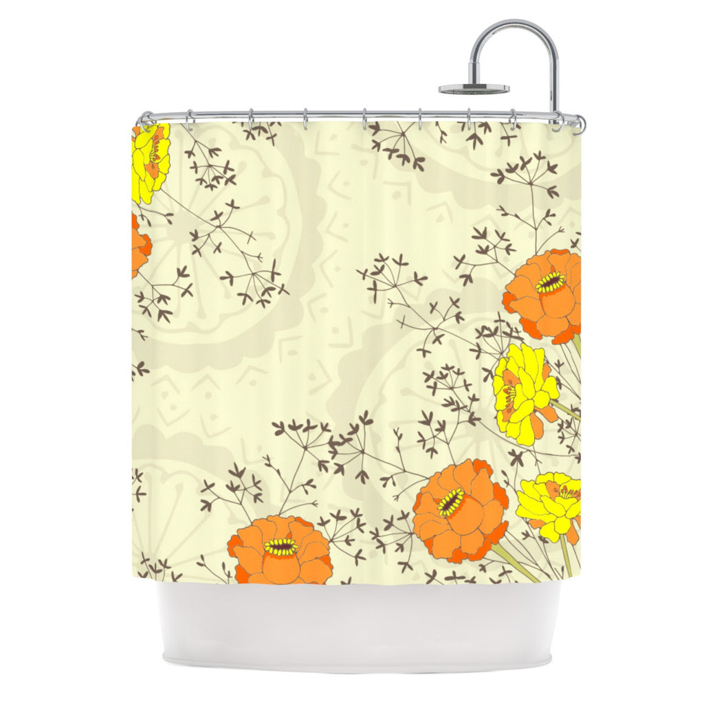 "Nandita Singh ""Flowers and Twigs"" Tan Orange Shower Curtain - KESS InHouse"