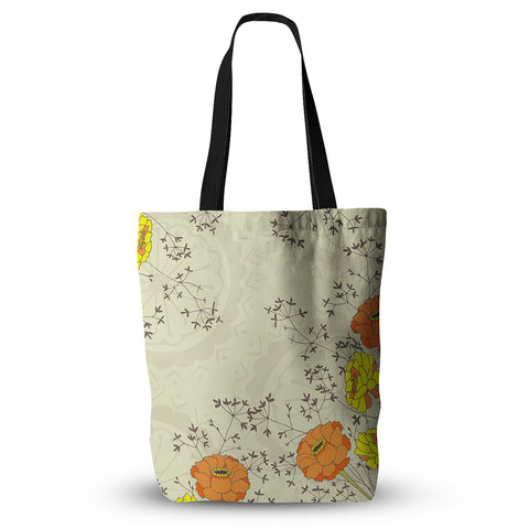 "Nandita Singh ""Flowers and Twigs"" Tan Orange Everything Tote Bag - KESS InHouse  - 1"