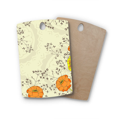 "Nandita Singh ""Flowers and Twigs"" Tan Orange Rectangle Wooden Cutting Board"