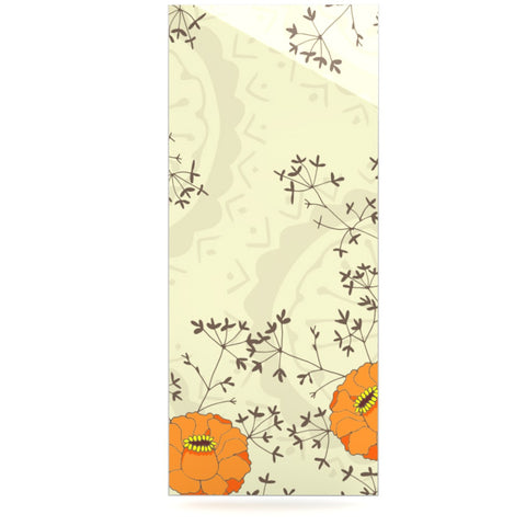 "Nandita Singh ""Flowers and Twigs"" Tan Orange Luxe Rectangle Panel - KESS InHouse  - 1"