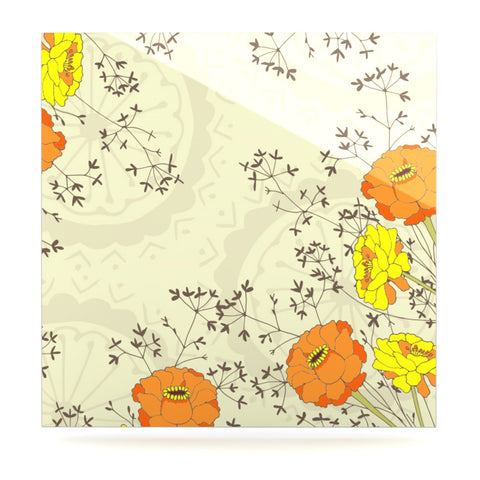 "Nandita Singh ""Flowers and Twigs"" Tan Orange Luxe Square Panel - KESS InHouse  - 1"