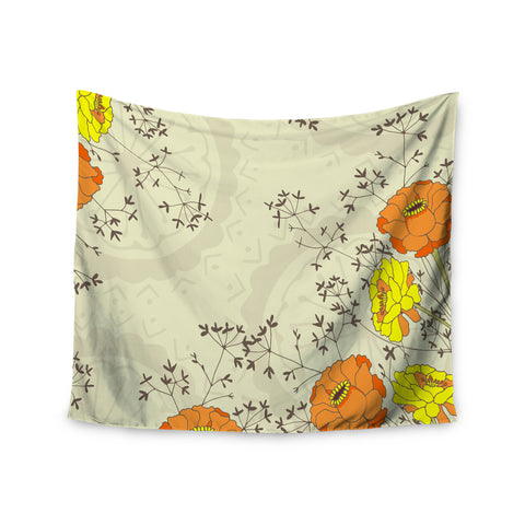 "Nandita Singh ""Flowers and Twigs"" Tan Orange Wall Tapestry - KESS InHouse  - 1"