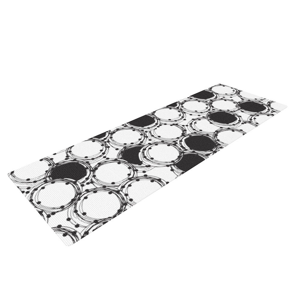 "Nandita Singh ""Beaded Bangles"" Black White Yoga Mat - KESS InHouse  - 1"