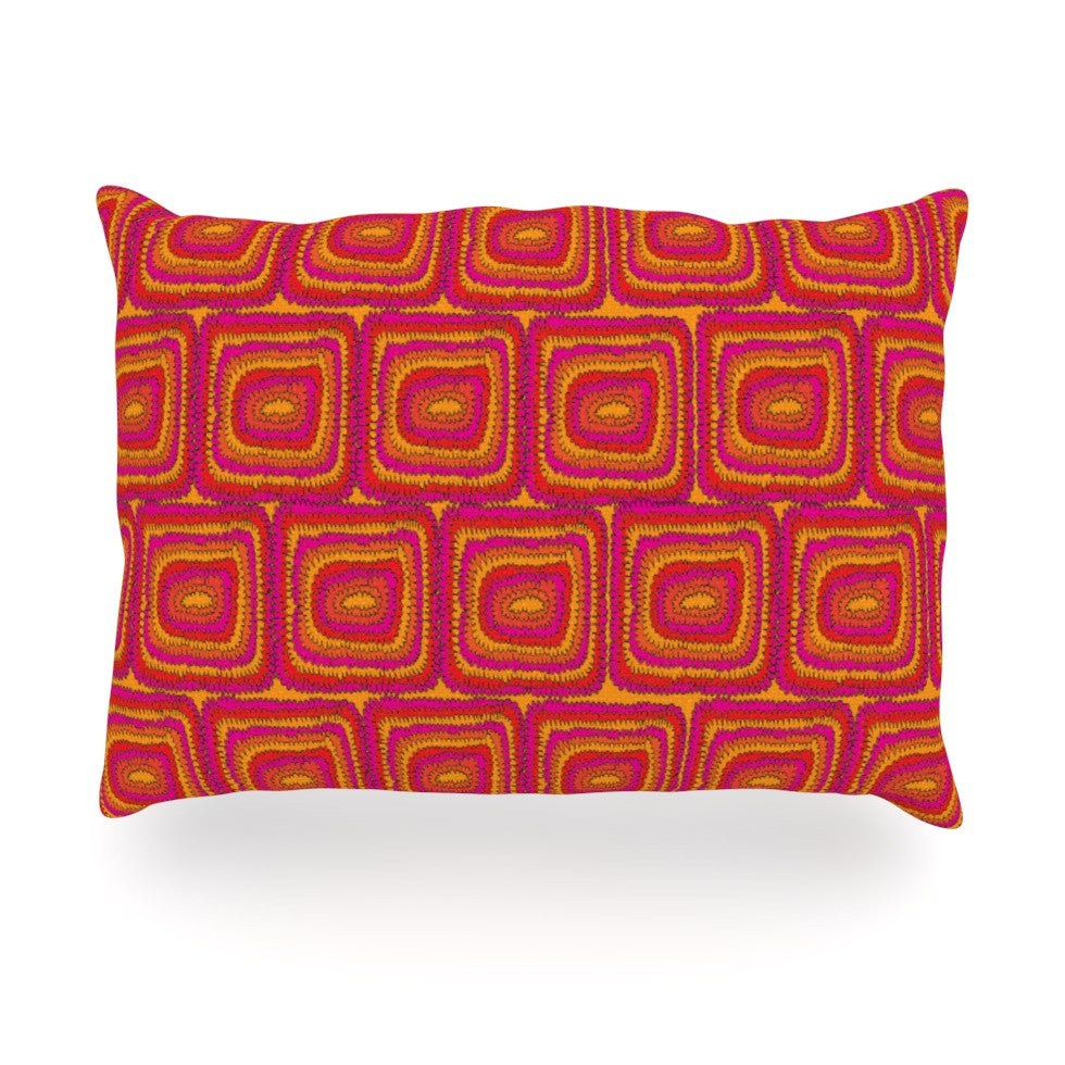 "Nandita Singh ""Bright Squares"" Red Pink Oblong Pillow - KESS InHouse"