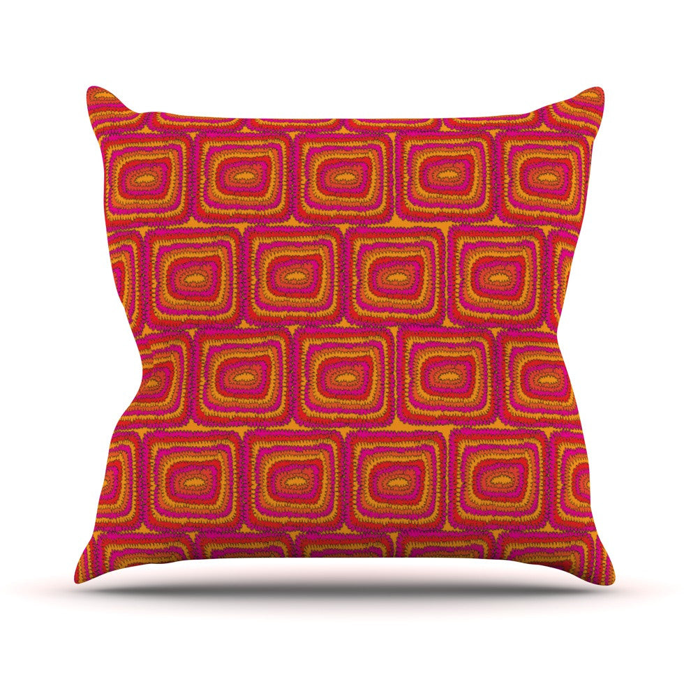 "Nandita Singh ""Bright Squares"" Red Pink Throw Pillow - KESS InHouse  - 1"