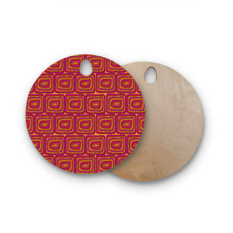 "Nandita Singh ""Bright Squares"" Red Pink Round Wooden Cutting Board"