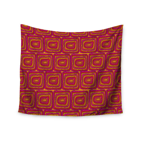"Nandita Singh ""Bright Squares"" Red Pink Wall Tapestry - KESS InHouse"