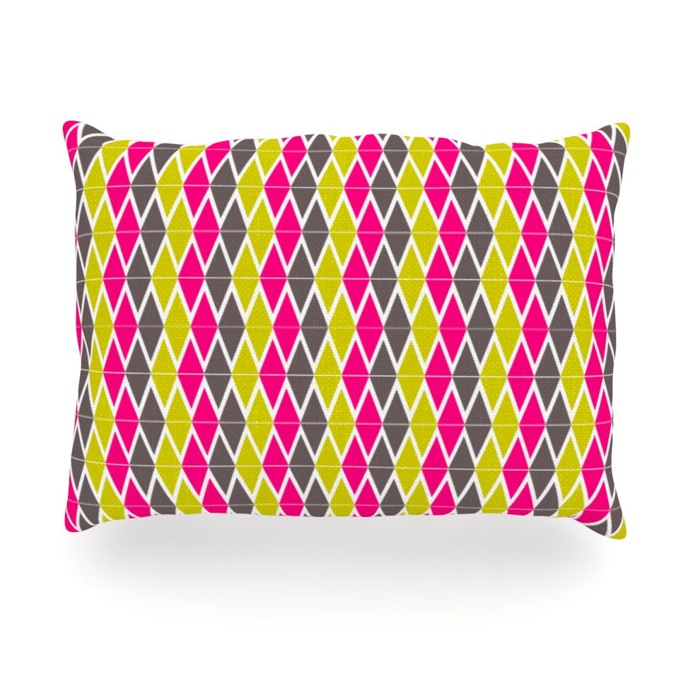 "Nandita Singh ""Bohemian"" Pink Yellow Oblong Pillow - KESS InHouse"