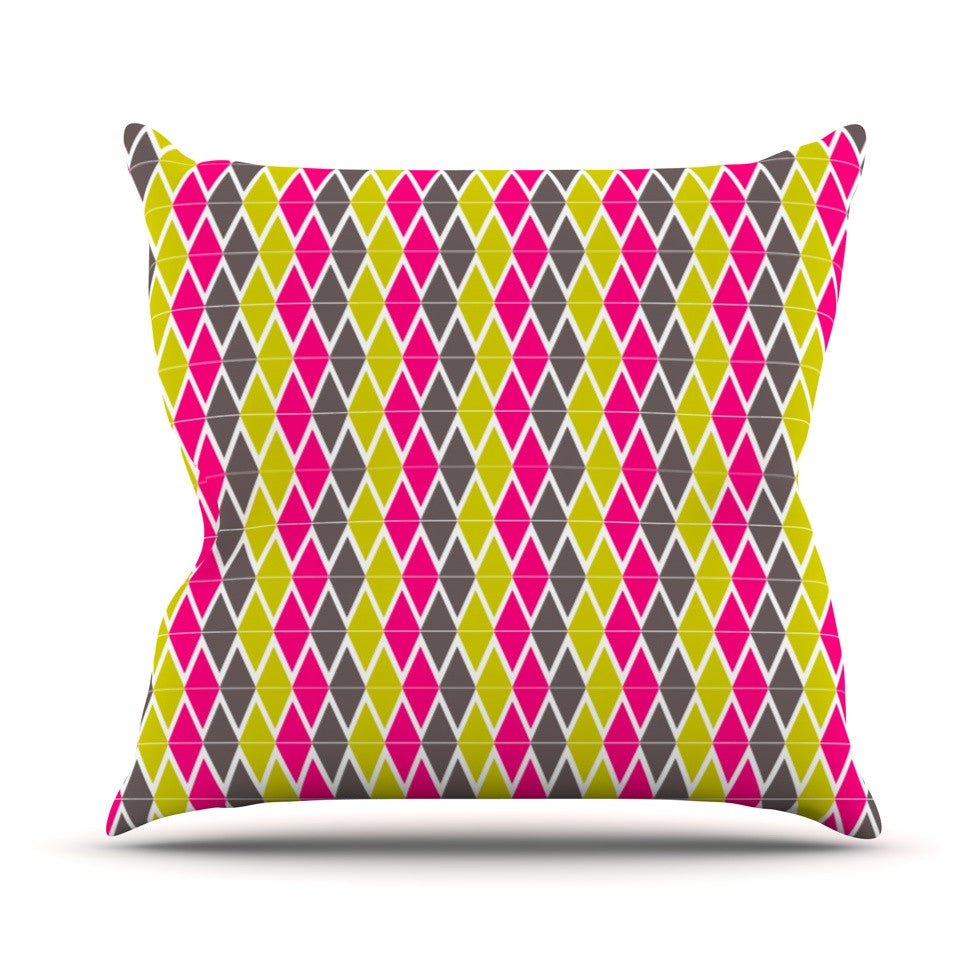 "Nandita Singh ""Bohemian"" Pink Yellow Throw Pillow - KESS InHouse  - 1"